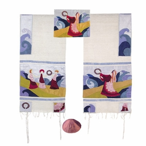 "Miriam and The Drum Tallit Set CAT# TFA-1, 34"" X 70"""