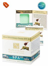 Moisturizing cream enriched with Olive Oil and HoneySPF-20+Natural soap with olive oil and honey