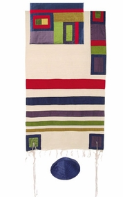 "Multicolor Tallit CAT# TRS- 5, 55"" X 73"""