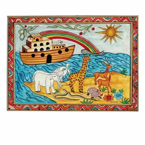 Noah's Ark Framed Painted Wooden Picture CAT# P- 1