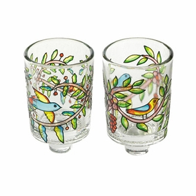 Painted Glass Candle Holder - Pair CAT# GCS- 2