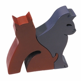 Pair of Cats Small Free Standing Wooden Puzzle CAT# PZS- 2