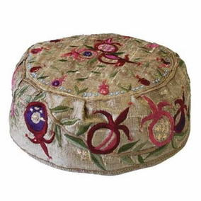 Pomegranates Embroidered Hat - Gold CAT# HME - 2G
