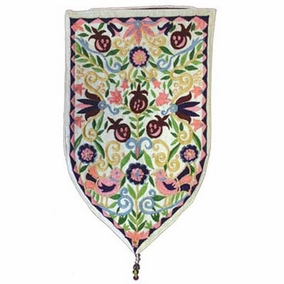 Pomegranates Embroidered Small Wall Decoration - White CAT# WSA - 5W