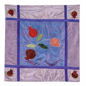 Pomegranates In Blue Square Pillow CAT# PL - 2