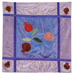 Pomegranates In Blue Square Table Cloth CAT# TB - 2