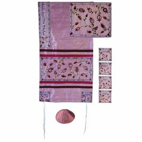 "Raw Silk Tallit Set CAT# TFA - 10, 19"" X 70"""