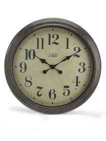 Round wall clock in dark metal frame - T229