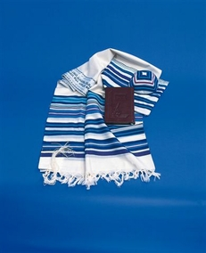 "Seven Colors Traditional ""Bnei Or"" Jewish Tallit of pure wool for grown-ups 65X180cm"