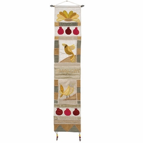 Shalom + Bird in English Gold Wall Hanging CAT# WL- 5