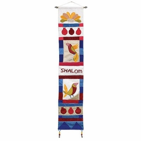 Shalom + Bird in English Multicolor Wall Hanging CAT# WL- 6