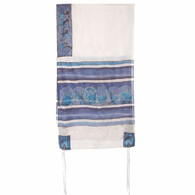 "Silk Tallit CAT# TS- 7 white&blue, 21"" X 77"""