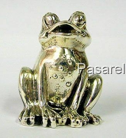 Silver Sitting Frog Miniature