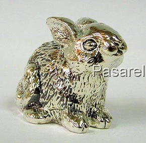 Silver Sitting Rabbit Miniature