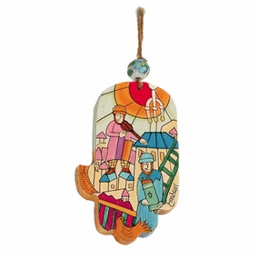 Small Wood Painted Hamsa (HAS- 2) CAT# HAS- 2