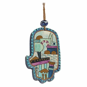 Small Wood Painted Hamsa (HAS- 4) CAT# HAS- 4