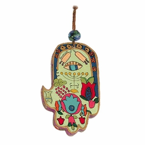 Small Wood Painted Hamsa (HAS- 5) CAT# HAS- 5