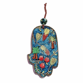 Small Wood Painted Hamsa (HAS- 6) CAT# HAS- 6