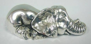 sterling silver baby elephant sleeping miniature
