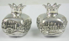 Sterling Silver Big Pomegranate Jerusalem Candlesticks