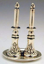 Sterling Silver Candlestick On Plate