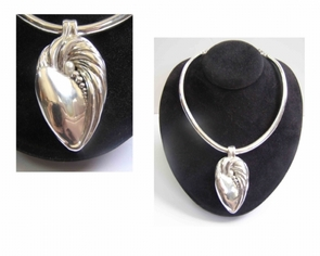 Sterling Silver Choker Leaf with Pearl
