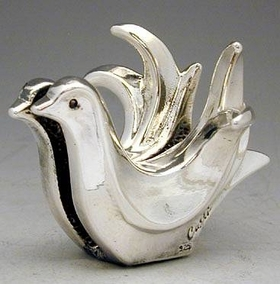Sterling Silver Double Dove Card Holder