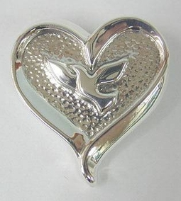 Sterling Silver Dove Heart Brooch