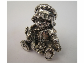 Sterling Silver Girl Teddy Bear Figurine
