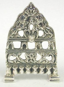 Sterling Silver Hanukia Lions with Holes