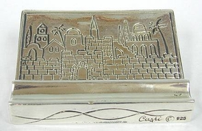Sterling Silver Jerusalem business Card Holder