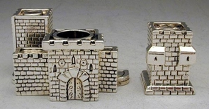 Sterling Silver Jerusalem Business Card & Pen Holder