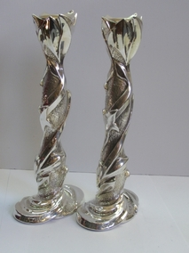 Sterling Silver Leaf Candlesticks