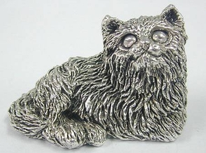 Sterling Silver Lying Cat Figurine