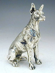 Sterling Silver Model Of A Doberman Dog