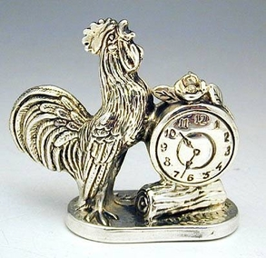 Sterling Silver Rooster Clock Miniature