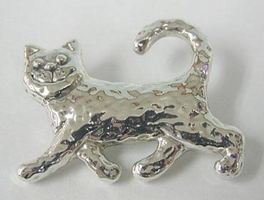 Sterling Silver Running cat Brooch