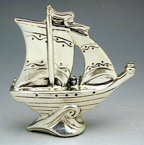Sterling Silver Sailboat Hanukkah Lamp