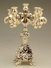 Sterling Silver Six Light Candelabra Miniature