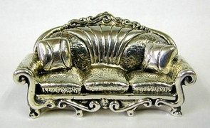 Sterling Silver Sofa Miniature Model