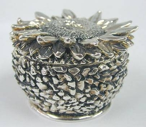 Sterling Silver Sun Flower Honey Dish