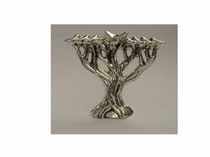 Sterling Silver Tree of Life Hanukiya-