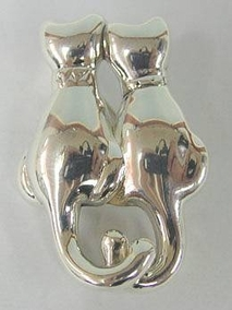 Sterling Silver Two Small Cats