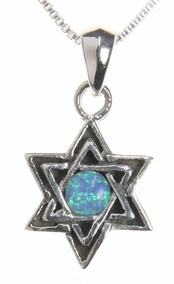 Sterling Silver w Opalit Star of David Nacklace
