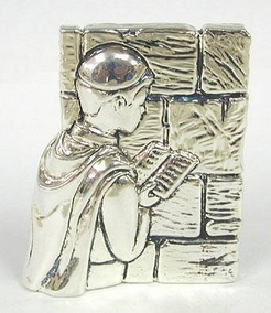 Sterling Silver Western Wall Praying Miniature, Judaica