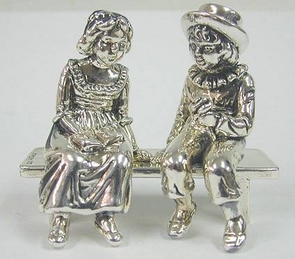 Strerling Silver Young Lovers On Bench Large Miniatures