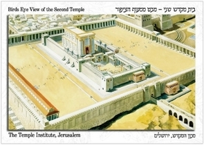 The Holy Temple Postcard - Birds Eye View of the Second Temple.