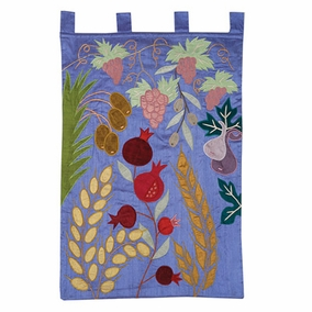 The Seven Species in Blue Wall Hanging CAT# WXL-4