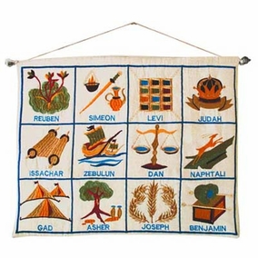 The twelve tribes embroidered wall hanging - English CAT# WX - 2