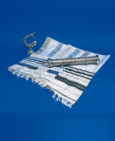 Traditional Acrilan Jewish Tallit for grown-ups 20X100cm